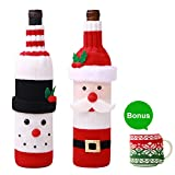 Hulisen Xmas 2confezione con bottiglia di vino, maglione Ugly di Babbo Natale e pupazzo di neve di vino rosso bottiglia di vino borsa per Natale e Capodanno party with free gift- tazza di Set of 1 Snowman & 1 Santa