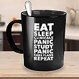 Lustige Still-Tasse für Studenten, Essen, Schlaf Kliniken, Panikstudien, Panik-Pläne, Wiederholung, Senior-Praxis, Krankenschwester, Wohnzimmer, Geschenk für Krankenschwester, Krankenschwester, Schule