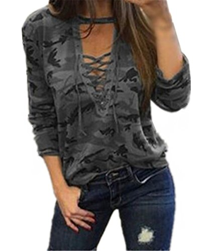 AILIENT Classique Camouflage T-shirt Manches Longues Femme Sexy Col V Blouse Tee Shirt Chic Top Chemise Décontractée Grey
