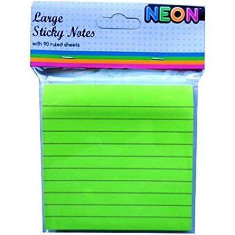 Foglietti adesivi grandi Notepad, colore: verde Neon,