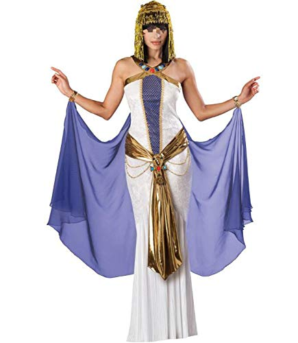 POIUYT Damen Halloween Königin Von Ägypten Enges Kleid Temperament Ball Glamourösen Pfau Rolle Spielen Bühnenkostüm Kostüm Für Erwachsene Ball Rock Kleidung + Gürtel Keine Kopfbedeckungen,White