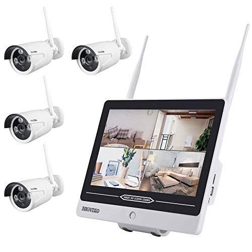 """Full HD WLAN Überwachungsset mit integriertem 30,48 cm (12"""" Zoll) Monitor und 4 Überwachungskameras"""