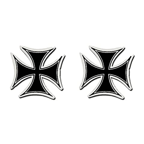 Hot Leathers, 2 x PIC IRON CROSS - Small, Bikers Motorcycle Helmet, Sticker DECAL (Pair) - 3