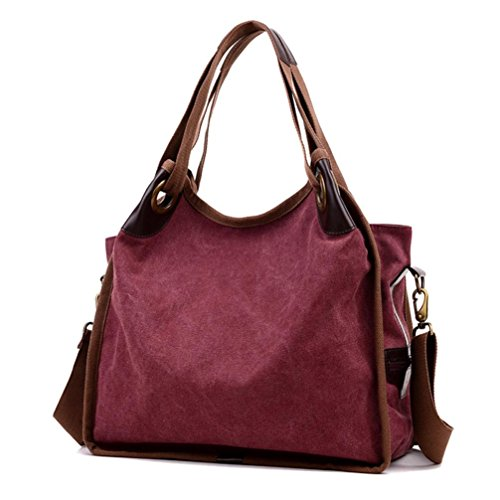 Transer Canvas Handbags & Single Shoulder Bags Women Zipper Bag Girls Hand Bag, Borsa a spalla donna Blue 41cm(L)*38(H)*18cm(W) Wine