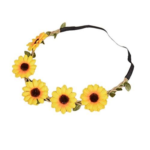 band Blumen Haarkranz Haarband Blume Kopfschmuck Blumenkrone Sonnenblume für Kinder ()