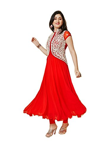 Mannat Fashion Women's red Georgette Long Unstitched Salwar Suit Dress Materialÿ