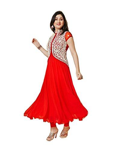 Mannat Fashion Women\'s red Georgette Long Unstitched Salwar Suit Dress Materialÿ001
