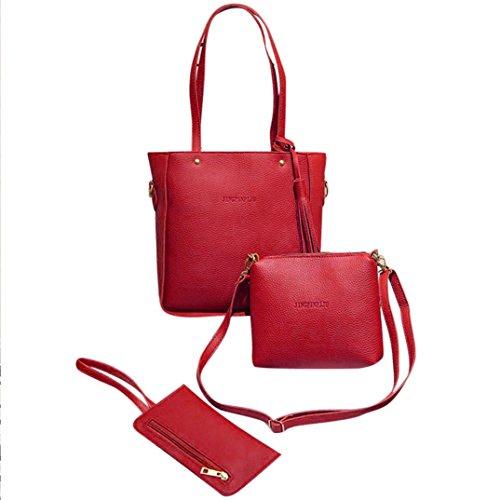 3 Set Borse,Kword Elegante Donne Nappe in Pelle Off Spalla Borsa + Crossbody Bag + Pochette Portafoglio Vino