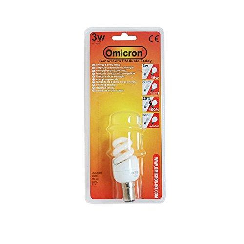 Omicron Energiesparlampe, T2, Bajonettsockel, 3 W, klein, Fluoreszierendes Licht, Spiralform -