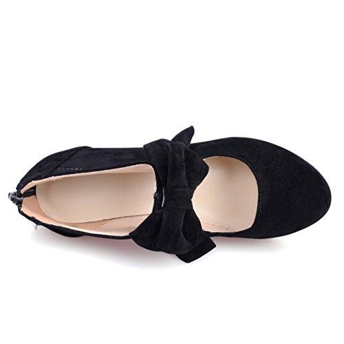 TAOFFEN Femmes Escarpins Soiree Occidental Talons Hauts Plateforme Fermeture Eclair Chaussures De Bowknot Noir