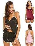 Schlafanzug Damen Kurz Sexy Set Nachtwäsche Sommer Pyjama mit Top Spaghettiträger Babydoll Nachthemd Satin Negligee (M/EU 38-40, Schwarz)