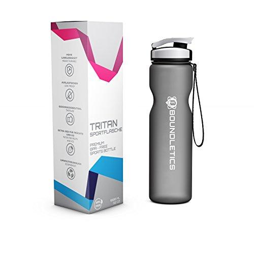 Trinkflasche - Wasserflasche - Sportflasche aus Tritan - BPA Frei 1l - ideale Sporttrinkflasche für Kinder, Sport, Fitness, Fahrrad, Fußball, Outdoor - Auslaufsicher und Spülmaschinengeeignet - Water Bottle, Fitness Flasche mit Sieb für erfrischende Fruchtschorlen (Black |1.000ml) (Wasser Flasche Mit Filter, 1 Liter)