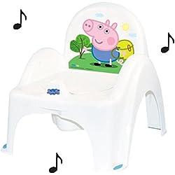 Peppa Pig pot de toilette musical pour bébé enfant fauteuil chaise thème George couleur blanc et bleu