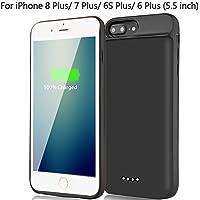 Cover Batteria per iPhone 8Plus 7Plus 6S Plus 6 Plus, BeeFix 7500mAh Custodia Batteria Portatile Ricaricabile Power Case Esteso Backup Caricabatterie, Nero