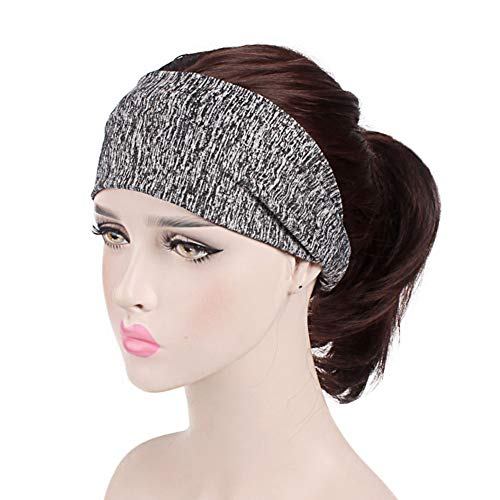 Scrox. 1 Stück Sport-Haarband für Männer und Frauen, elastisches Haarband ohne Slip, Feuchtigkeitstransport, Haarband aus Baumwolle für Sport (Dunkelgrau) -