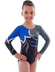 Deluxe 'Adagio' Noir Bleu et Gris vague avec Diamante Gymnastique Leotard à manches