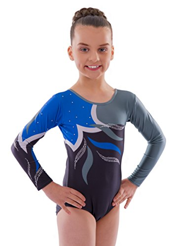 Vincenza Dancewear Vincenza Dancewear Girls Long Sleeved Leotard for Gymnastics (5-6 Years, Adagio (Long Sleeved))
