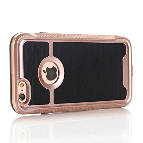 iPhone 7 Coque, Lantier cool Noir Métal brossé Design [Slim Fit] résistant aux chocs hybride double couche étui de protection Defender Armure pour Apple iPhone 7 (4,7 pouces) 2016 Argent Rose Gold