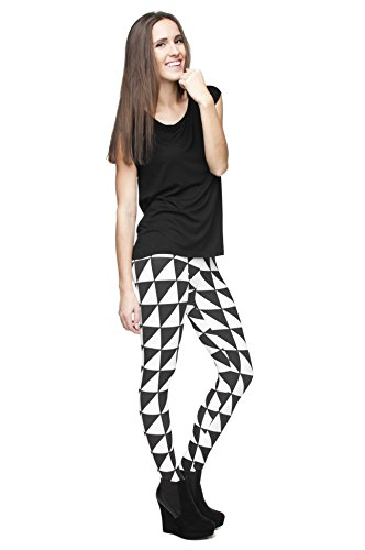 Kukubird Gedruckte Muster Frauen Yoga Leggings Gym Fitness Running Pilates Strumpfhose Skinny Pants 8 bis 12 Stretchable Triangles Black White