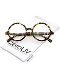 5923d481fea zeroUV - Retro Horn Rimmed Clear Lens Round Eyeglasses 52mm (Yellow  Tortoise   Clear)