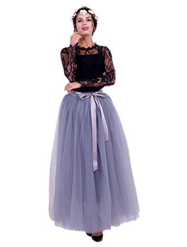 Honeystore Damen's Tüllrock Lang 5 Layer Prinzessin Kleider Lang Petticoat Ballettrock Maxi Unterrock Pettiskirt Lang One Size (Für Kostüm Halloween Prinzessin Jasmin Frauen)