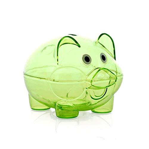 (Kurphy grüner transparenter Plastikgeld-Einsparungs-Kasten-Kasten-Münzen-Sparschwein-Karikatur-Schwein geformt)