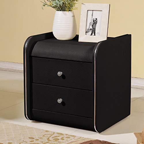 NYDZDM Nachttisch Locker Leder Nachttisch Nachttisch mit Schubladenschrank (Farbe : Schwarz)