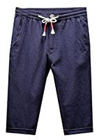 Fulok Mens Thin Linen Slim Elastic Waist Cuffed Knee Length Pants Large navy