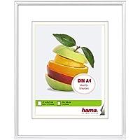 Hama Bilderrahmen DIN A4 mit Papier-Passepartout 15 x 20 cm, hochwertiges Glas, Kunststoff Rahmen, zum Aufhängen, weiß