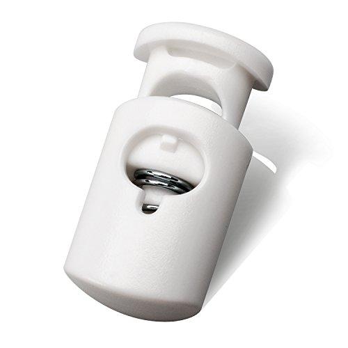 Mehrfarbige Kunststoff Kordel Schloss Ende Spring Stop Toggle Pfropfen Heavy Duty Cord Lock ideal für Lanyard, Gepäck, Kleidung, Rucksack und verschiedene Arten von Outdoor und Gym Produkte 50PCS weiß -