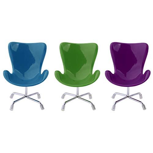 Fenteer Miniatur Küchenstuhl Stuhl Esszimmer Stuhl Set aus Holz 1:6 für Puppenhaus Möbel, 3er Pack -