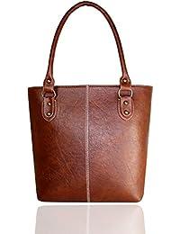 Fargo Fine Line PU Leather Women's & Girl's Shoulder Handbag (Tan Brown_FGO-004)