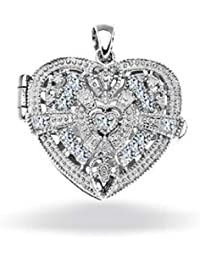 Bling Jewelry Vintage Style CZ Heart Locket Pendant Sterling Silver Necklace 18 Inches