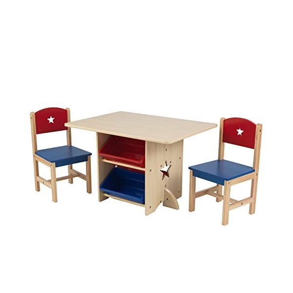 KidKraft 26912 Star Wooden Table & 2 Chair Set with storage bins, kids children's playroom / bedroom furniture - Red & Blue KidKraft Four convenient storage bins Bins can be reached from either side of table Star-shaped holes on table and chairs 4
