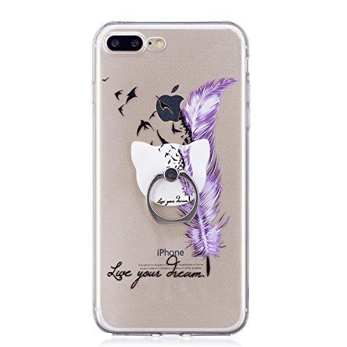 iPhone 7 Plus/iPhone 8 Plus 5.5 Hülle, Voguecase Silikon Schutzhülle / Case / Cover / Hülle / TPU Gel Skin Handyhülle Premium Kratzfest TPU Durchsichtige Schutzhülle für Apple iPhone 7 Plus/iPhone 8 P Stützen-dream/lila Federn