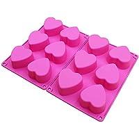 BAKER DEPOT 6 agujeros molde de silicona en forma de corazón para el chocolate, pastel