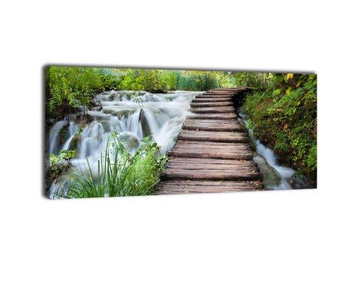 leinwandbild-panorama-nr-79-weg-mit-wasserfall-100x40cm-keilrahmenbild-bild-auf-leinwand-kunstdruck-