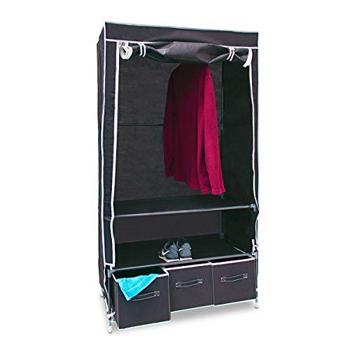 Relaxdays Faltschrank VALENTIN L H x B x T: 162 x 88 x 48 cm Stoffschrank mit 3 Schubladen und 2 Ablagen Textilschrank zum staubsicheren Aufbewahren Kleiderschrank aus Vlies-Gewebe zum Falten, schwarz