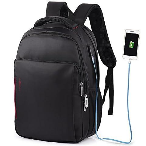 VBIGER Sac à Dos pour Ordinateur Portable Etanche Antivol avec Câble USB et Port de Charge