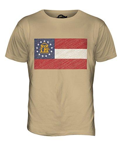CandyMix Bundesstaat Georgia Kritzelte Flagge Herren T Shirt Sand