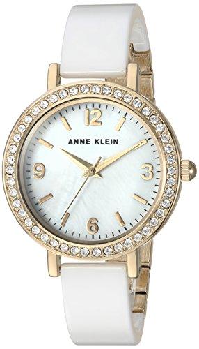 Anne Klein Mujer de Cuarzo Metal y cerámica Vestido Reloj, Color: Blanco (Modelo: AK/2348wtdb)