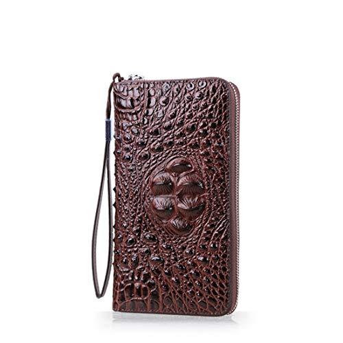 Wennew Sowohl Männer als auch Frauen Straußenleder Korn Charakter Brieftasche Handtasche Hochleistungs-Flüssigkeit Handytasche Reißverschlusstasche Sicherheitsleck Validierung (Farbe : Braun)