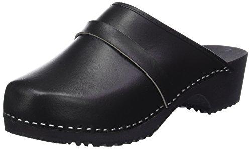Marited Damen/Herren Clogs, Leder, mit Sohle aus Holz, schwedischer Stil, Schwarz - schwarz - Größe: 43