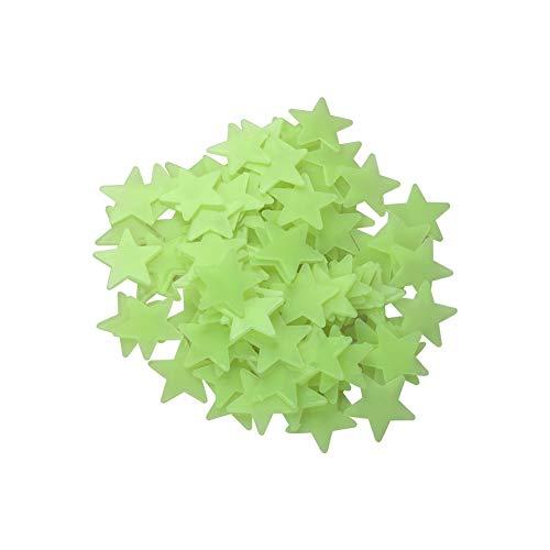 Rrunzfon 3D Luminous Stern Fluorescent Stern-Wand-Aufkleber-Abziehbilder Fensterbilder leuchten in der Dunkelheit für Kinder Baby-Raum-Wand-Dekor-Grün 100Pcs (Dunkelheit Leuchten In Der Kinder)