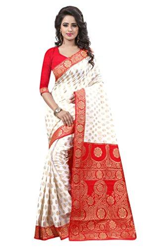 Nirja Creation Women's Banarasi_Silk Saree With Blouse Piece (Nc-Fr-404_White)