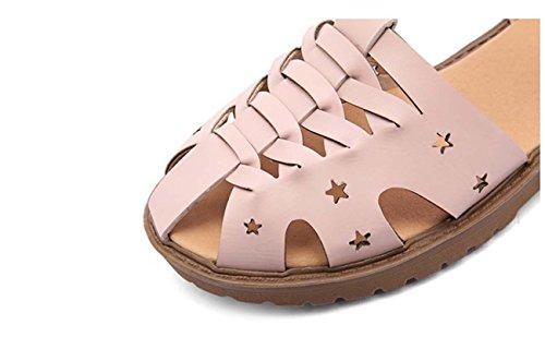 NobS Vuota tessuta Buckle Sandals Large Size 40-43 Scarpe Ankle Strap appartamenti delle donne punta rotonda Pink