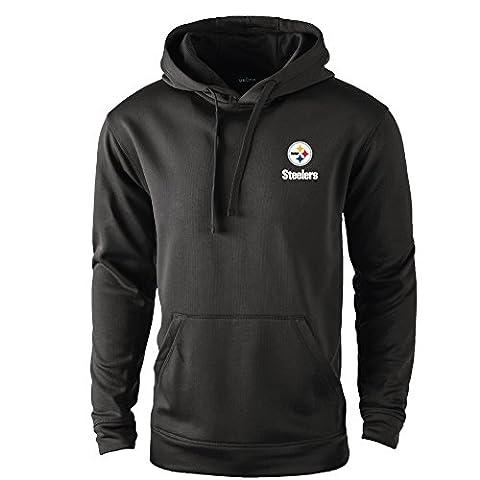 NFL Pittsburgh Steelers adult Champion Polyester Tech Fleece Pullover, Medium, black