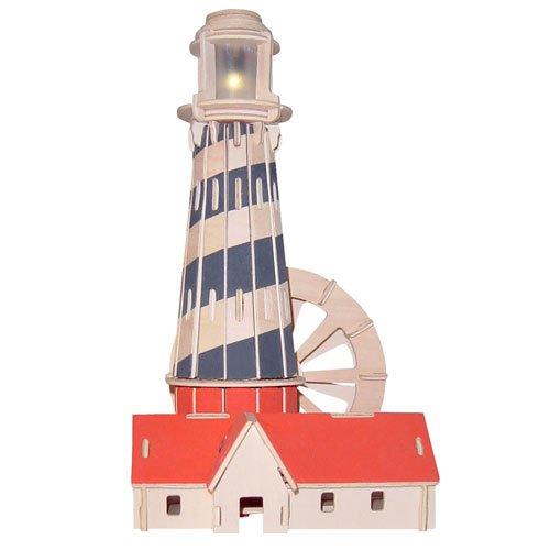 Preisvergleich Produktbild Leuchtturm I mit LED 3D Holzbausatz Turm Meer Gebäude Steckpuzzle Bauwerk Holzpuzzle