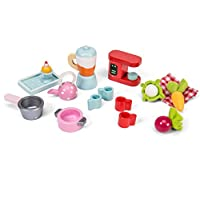Le Toy Van Wooden Tea-Time Dolls House Accessories Set With Blender, Coffee Machine, Kettles, Tray and More