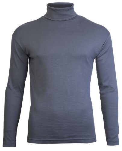 Polo-hälse (Brody & Co.Herren Langarmshirt, Einfarbig Schwarz Schwarz, Dunkelgrau, S)